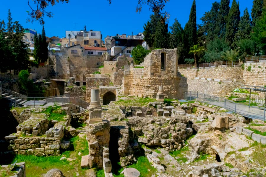 Ancient Pool of Bethesda ruins in Jerusalem, Israel.