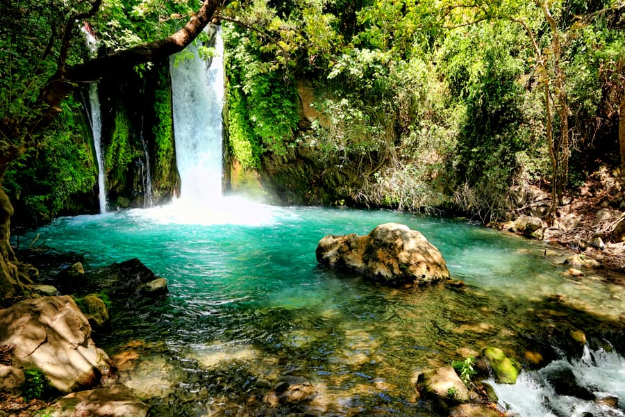 A Waterfall at Banias Nature Reserve,Golan, Israel.