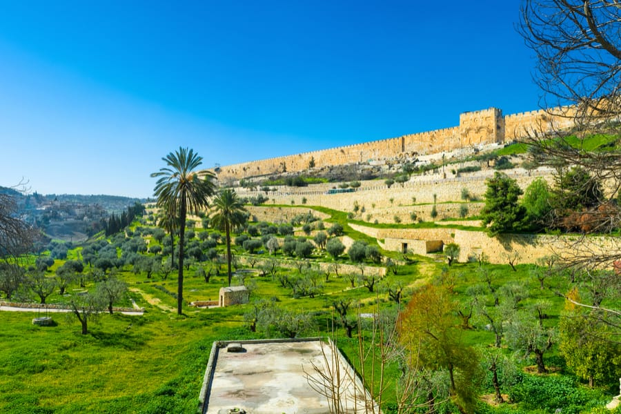 The Kidron Valley separates the Temple Mount from the Mount of Olives and contains many ancient tombs, Jerusalem, Israel.