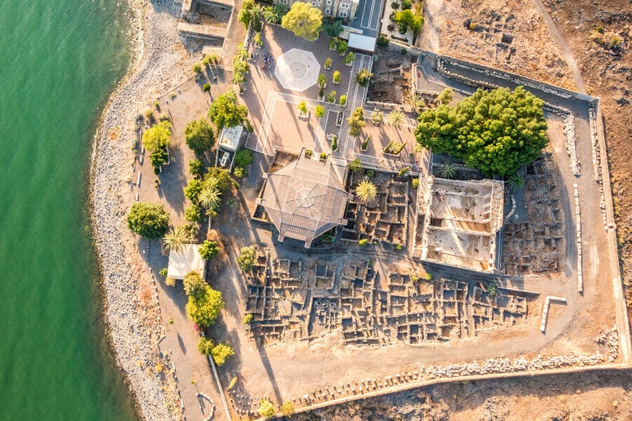 Aerial view of Capernaum, Town of Jesus, Galilee, Israel.