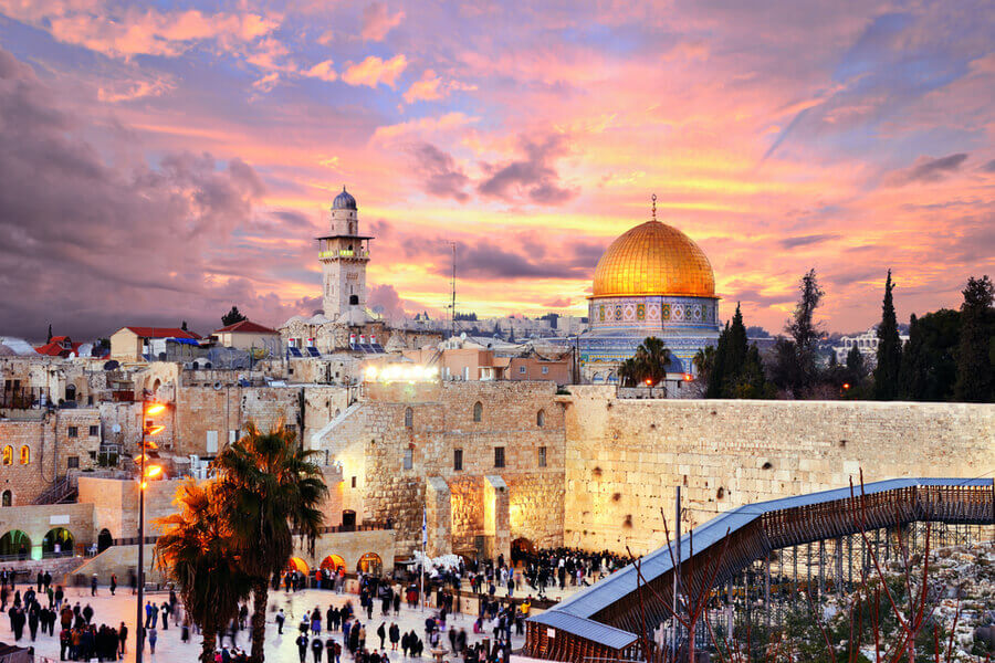 Skyline of the Old City at the Western Wall and Temple Mount, Jerusalem