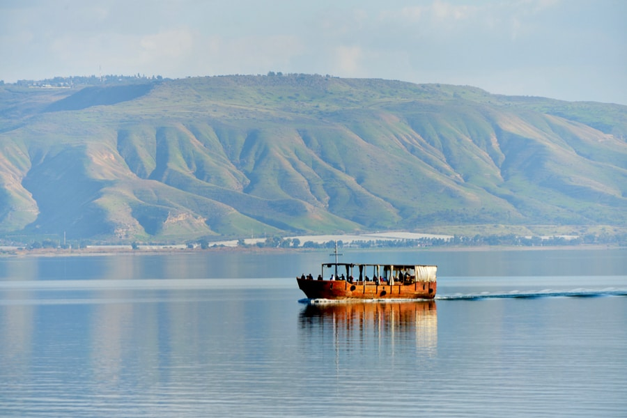 Ancient Fisherman's Boat at sea of Galilee