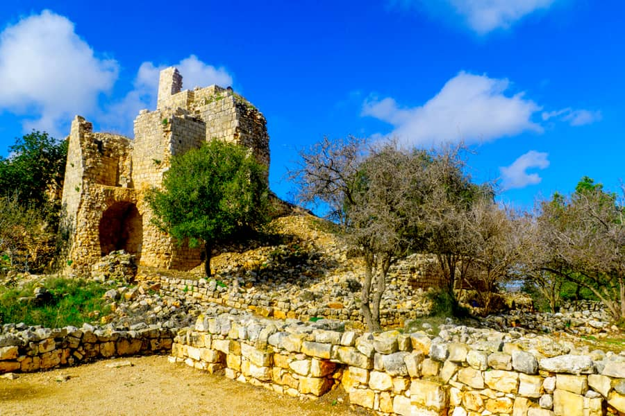 Remains of the Yehiam Fortress, from the Crusader and Ottoman period, in the western Upper Galilee, Northern Israel.