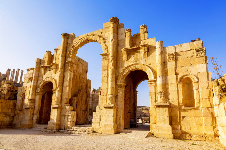 South Gate of the Ancient Roman city, Jerash, Jordan.
