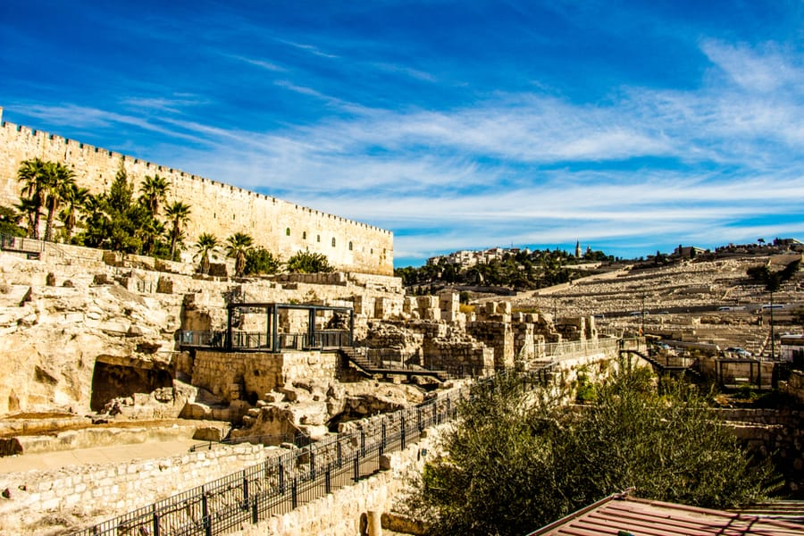 Archaeological Park Davidson Center. Archaeological excavations near the walls of the old city in Jerusalem