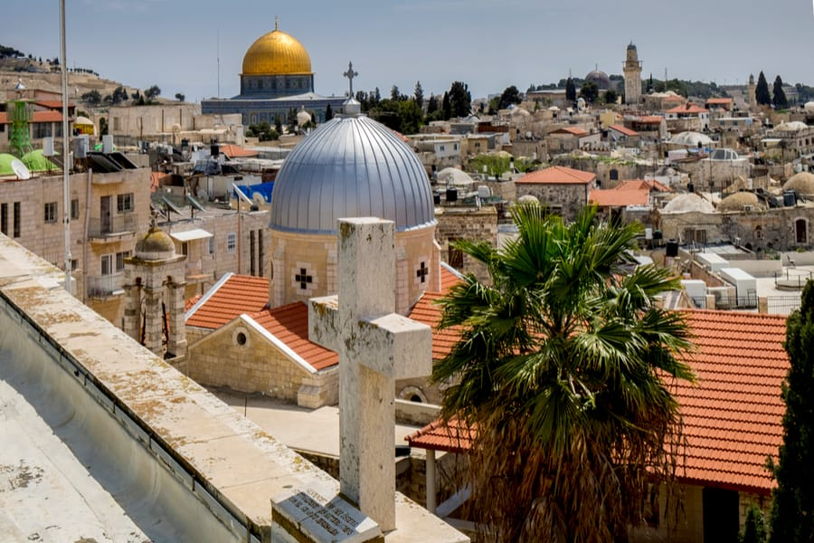 Panoramic view on old part of Jerusalem from roof of Austrian Hospice, Israel