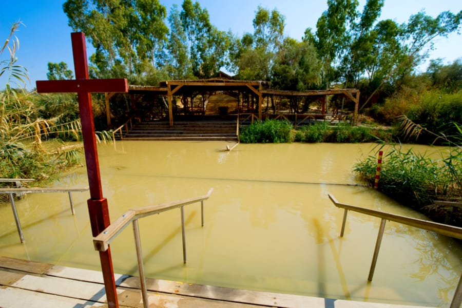 Baptismal site Qasr el Yahud on the Jordan river near Yericho is according to the bible the place where Jesus Christ is being baptized by John the baptist.