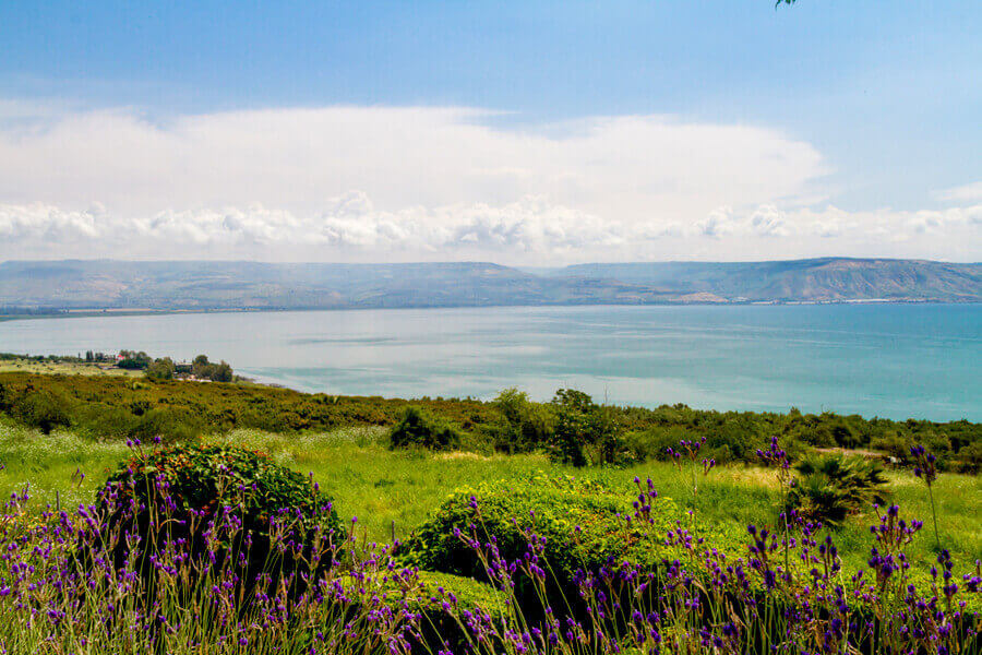 Panoramic View of Sea of Galilee from the Mount of Beatitudes, Israel.