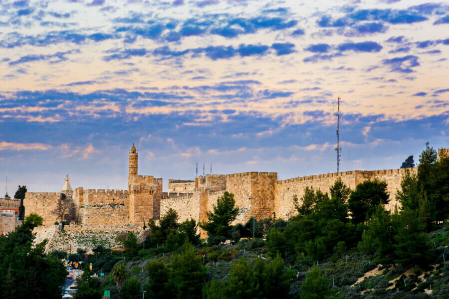 Sunset clouds over the Tower of David, Jerusalem