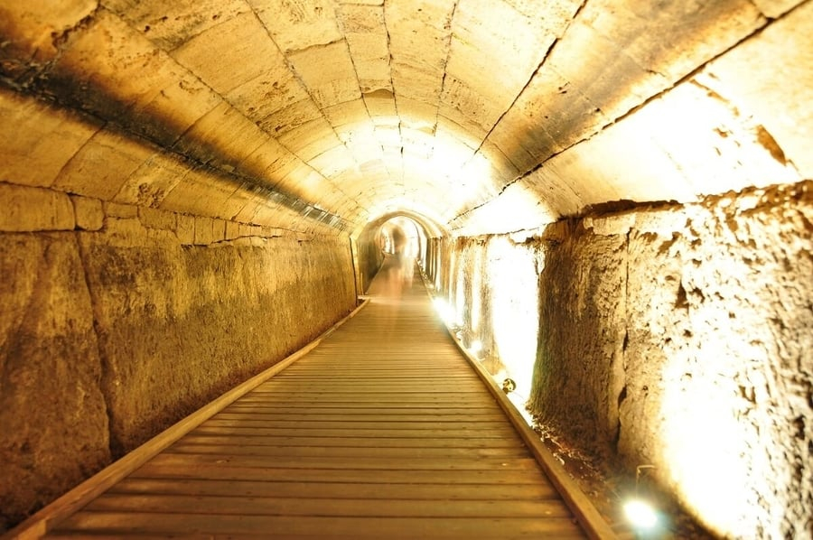 Going down to visit the Crusader underground city and crypt, Acre