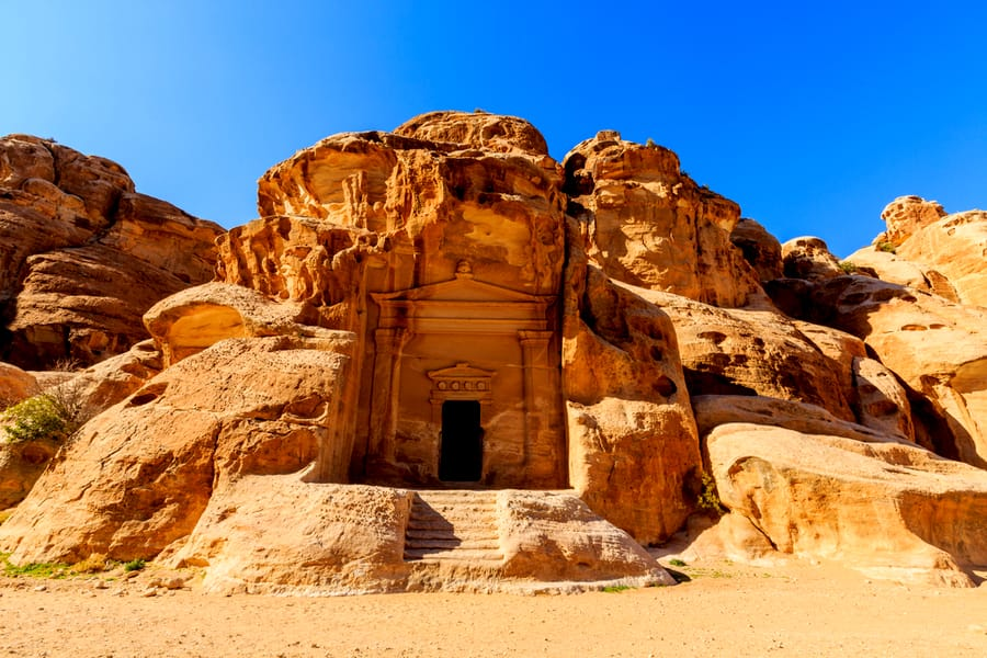 Caved buildings of Little Petra in Siq al-Barid, Wadi Musa.